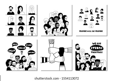 Multinational group of people together vector social media banner templates set. Unity in diversity, equality contour illustrations pack. Multicultural friends characters. Multiethnic men and women