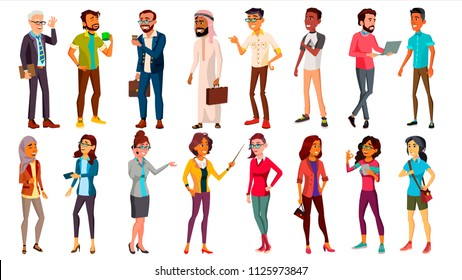 Multinational People Set Vector. Different Ages. Men, Women. Professional Character. Working People Standing. Isolated Illustration