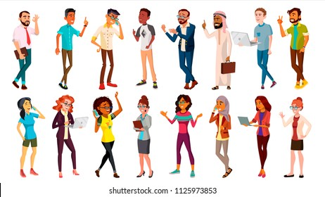 Multinational People Set Vector. Races And Nationalities. Men, Women. Business Person. Businesspeople Ethnic Diverse. Isolated Illustration