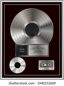 Multi-Platinum Sales Award. Platinum or Silver Vinyl or CD Prize Award with Label in Black and silver Frame. Vector Illustration.