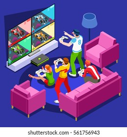 Multiplayer video game screen nerd girl gamer person gaming online console controller android phone or computer. 3D Isometric People icon set. Creative design vector illustration collection