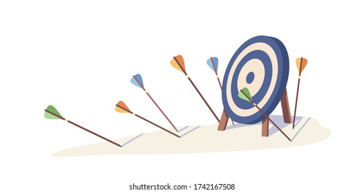 Multiple arrow missed hitting target mark isolated on white background. Fail archery goal inaccurate to purpose vector illustration. Concept of business failure, mistake strategy and loss opportunity