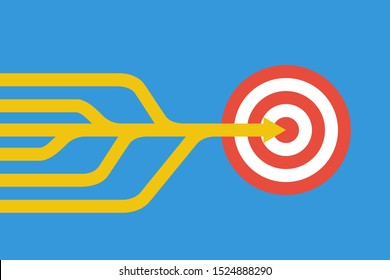multiple arrows join to one strong for reach goal, teamwork vector concept