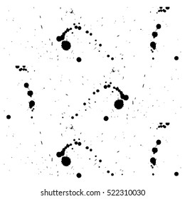 Multiple black ink drops and splashes, vector illustration clip art