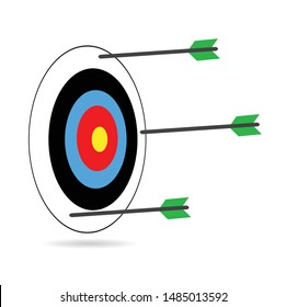 Multiple failed inaccurate attempts to hit archery target. Arrow and target, hit and miss.