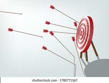 Multiple failed inaccurate attempts to hit archery target. Business challenge failure metaphor. Vector illustrations