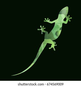 multiple green colors mix and texture on  lizard, reptile or gecko  shadow on dark green background,one head, tall body, four legs feet and one tall tail with camouflage natural style,like army,vector