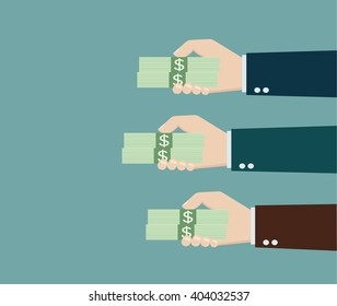multiple hands offering money vector and copy space for edit