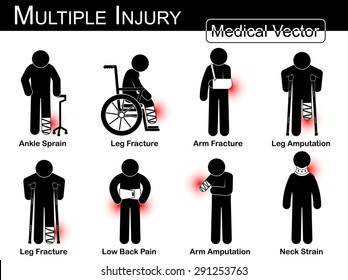 Multiple injury set ( Ankle sprain, Leg fracture, Arm fracture, Leg amputation, Leg broken , Low back pain, Arm amputation, Neck strain , arthritis ) Vector Medical stick man, physical therapy concept