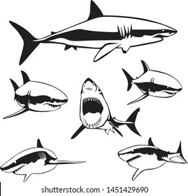 Multiple instances of a shark vectorized