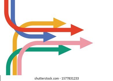 multiple isometric colorful arrow pointed to the same direction, Partnership, merger, alliance and integration concept. Flat design. Vector illustration, no transparency, no gradients