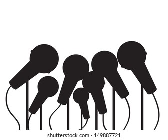 Multiple microphones silhouette with empty space