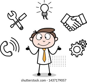 Multiple Options - Office Businessman Employee Cartoon Vector Illustration