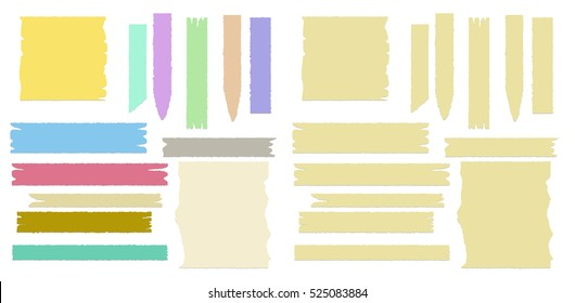 Multiple pieces of colorful and beige sticky tape in different shapes on white background