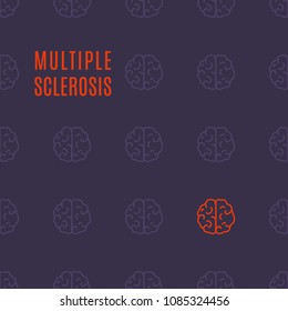 Multiple sclerosis awareness medical poster with healthy brains and one affected by the illness. Top view body anatomy sign. Solidarity day concept. Vector illustration on purple background.