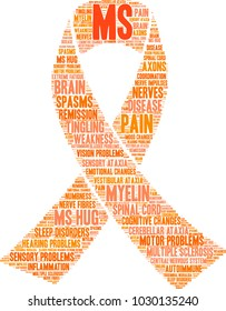 Multiple Sclerosis word cloud on a white background.
