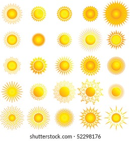 Multiple stylized sun graphics, vector