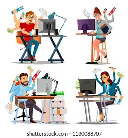 Multiple Tasks Business Concept Vector. Set Person. Many Hands Doing Tasks. Professional Occupation. Skill Of Multitasking. Financial Occupation. Talented Worker. Plodding Worker. Cartoon Illustration