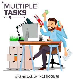 Multiple Tasks Businessman Vector. Many Hands Doing Tasks Simultaneously. Business Strategy. Flat Cartoon Illustration