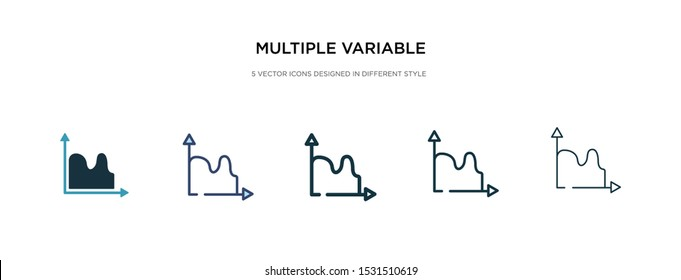 multiple variable continuous chart icon in different style vector illustration. two colored and black multiple variable continuous chart vector icons designed in filled, outline, line and stroke