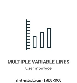 Multiple variable lines outline vector icon. Thin line black multiple variable lines icon, flat vector simple element illustration from editable user interface concept isolated on white background