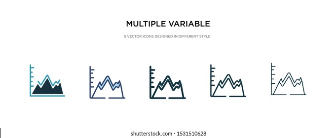 multiple variable points line chart icon in different style vector illustration. two colored and black multiple variable points line chart vector icons designed in filled, outline, line and stroke