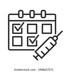 Multiple-Dose Vaccine Schedules outline icon. Calendar and syringe for medication injection. Two dose vaccination concept. Covid vaccination. Thin line vector illustration isolated. Editable stroke