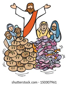 The Multiplication of the Loaves and Fish by Jesus.