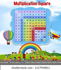 Multiplication square with children playing illustration
