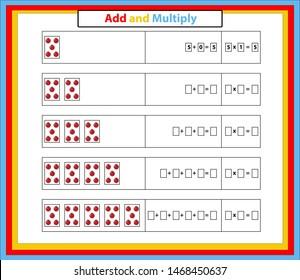 Multiplication Table Mathematics Worksheet. Educational Game. Vector illustration.Addition and Multiplication Math.