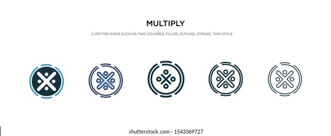 multiply icon in different style vector illustration. two colored and black multiply vector icons designed in filled, outline, line and stroke style can be used for web, mobile, ui