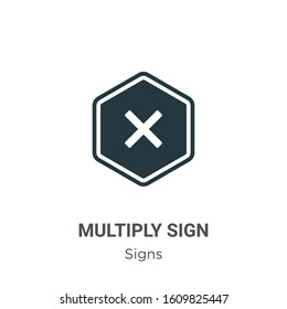 Multiply sign glyph icon vector on white background. Flat vector multiply sign icon symbol sign from modern signs collection for mobile concept and web apps design.