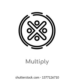 multiply vector line icon. Simple element illustration. multiply outline icon from signs concept. Can be used for web and mobile