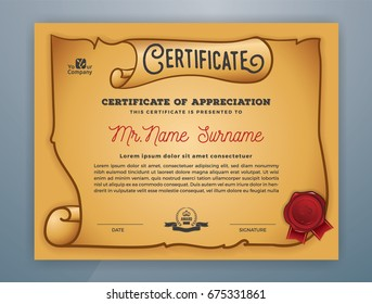 Multipurpose Ancient Certificate Template Design for Print. Vector illustration