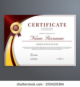 Multipurpose certificate of appreciation template with red and gold color, modern luxury border certificate design with gold badge.