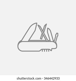 Multipurpose knife line icon for web, mobile and infographics. Vector dark grey icon isolated on light grey background.