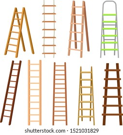 Multi-Purpose Set Of Different Ladders Vector Illustrations Many Colors