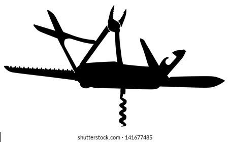 multipurpose vector illustration of knife, black shiluette, isolated on white background