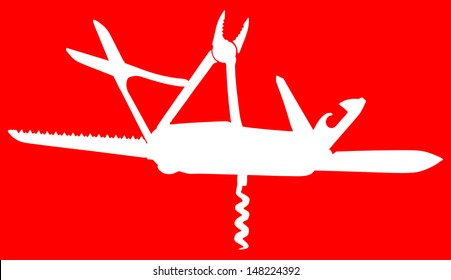 multipurpose vector illustration of knife, white shiluette, isolated on red background