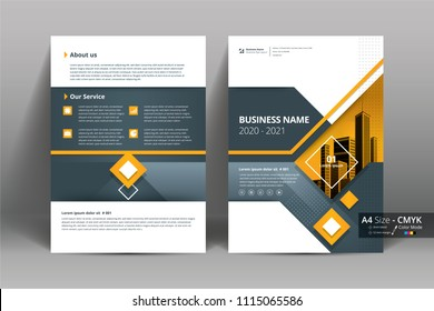 Multipurpose vector layout template of front and back booklet cover, pamphlet, bi-fold brochure. Design background  with yellow geometric elements. Size A4 and cmyk color.