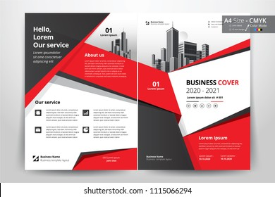 Multipurpose vector layout template of front and back booklet cover, pamphlet, bi-fold brochure. Design background  with red and black geometric elements. Size A4 and cmyk color.