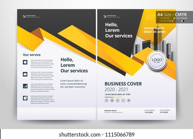 Multipurpose vector layout template of front and back booklet cover, pamphlet, bi-fold brochure. Design background  with yellow and black  geometric elements. Size A4 and cmyk color.