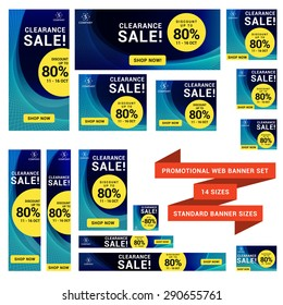 Multipurpose Web Banner Set in 14 Sizes. Document was scale down to 50%, scale up to 200% to get the real size or you can resize them one by one manually.