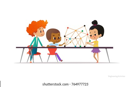 Multiracial boys and girl standing and sitting around table with structural model of molecule on it. Concept of engineering for school children. Vector illustration for banner, poster.