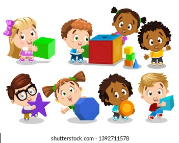 Multiracial boys and girls hold, play with big colour shapes. Inquisitive children select matching and study geometric figures. Cartoon vector clip art set isolated on white background.