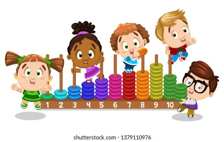 Multiracial boys and girls learning numbers with toy colour rings. Little children playing with pyramid and counting. Early childhood education. Cartoon vector illustration isolated on white.