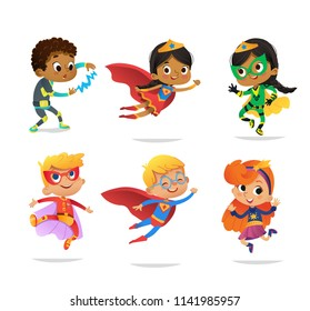 Multiracial Boys and Girls, wearing colorful costumes of various superheroes, isolated on white background. Cartoon vector characters of Kid Superheroes, for party, invitations, web, mascot.
