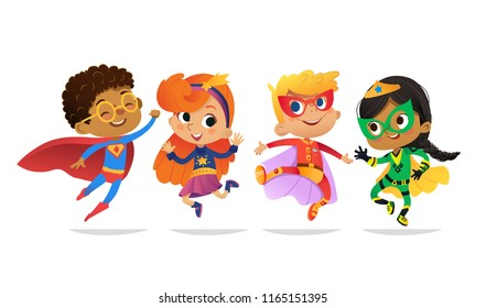 Multiracial Boys and Girls, wearing colorful costumes of superheroes, happy jump. Cartoon vector characters of Kid Superheroes, isolated on white background. for party, invitations, web, mascot