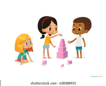 Multiracial children build tower with pink blocks. Kids play using kit with bright colored cubes. Montessori materials concept. Vector illustration for poster, banner, website, flyer, advertisement.