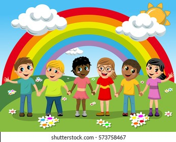 Multiracial Children or kids hand in hand in the meadow in front of rainbow